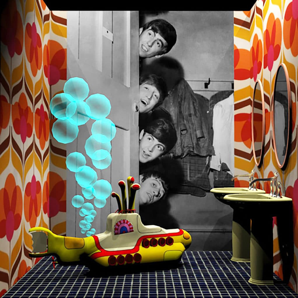 "famous bathrooms - Beatles 1022x1024 - ""Famous Bathrooms"" in mostra al Cersaie 2019"
